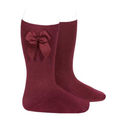 Chaussettes hautes en coton noeud côté coloris Grenat