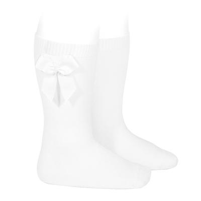 Chaussettes hautes en coton noeud côté coloris Blanc