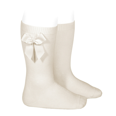 Chaussettes hautes en coton noeud côté coloris Lin