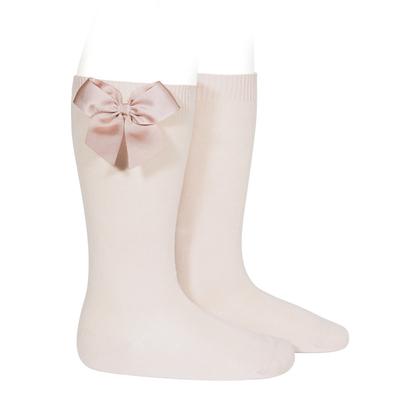 Chaussettes hautes en coton noeud côté coloris Nude