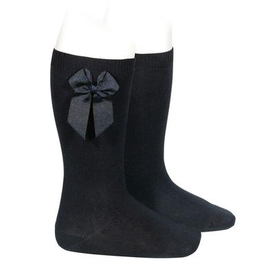 Chaussettes hautes en coton noeud côté coloris Noir