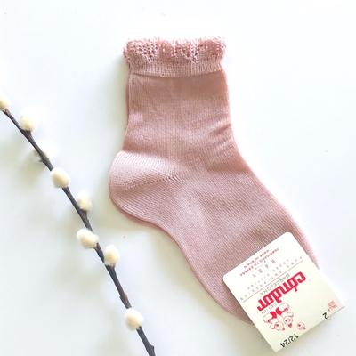 Chaussettes bordure dentelle coloris Vieux rose
