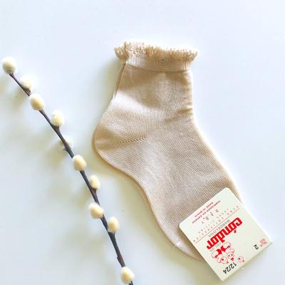Chaussettes bordure dentelle coloris Lin
