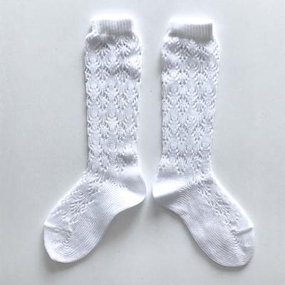 """Chaussettes hautes ajourées """"géométrique"""" en coton perlé coloris Blanc"""