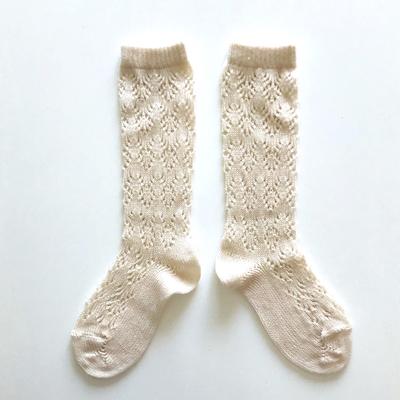 """Chaussettes hautes ajourées """"géométrique"""" en coton perlé coloris Lin"""