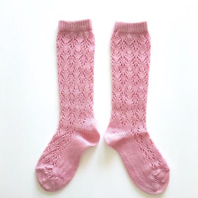 """Chaussettes hautes ajourées """"géométrique"""" en coton perlé coloris Rose pâle"""