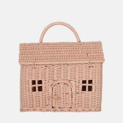 Panier en rotin Casa Clutch coloris rose