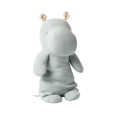 Doudou Maileg : Safari friends - Hippopotame medium coloris gris bleu