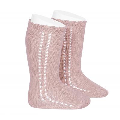 Chaussettes hautes ajourées côté en coton perlé coloris Rose pâle
