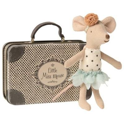 Souris Maileg : petite soeur souris dans sa valise en métal