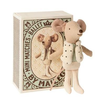 Souris Maileg : petit frère souris danseur et sa boîte d'allumettes