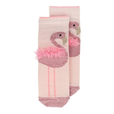 Chaussettes froufrous flamand rose 3-5 ans