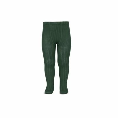 Collants maille côtelée coloris Vert Bouteille