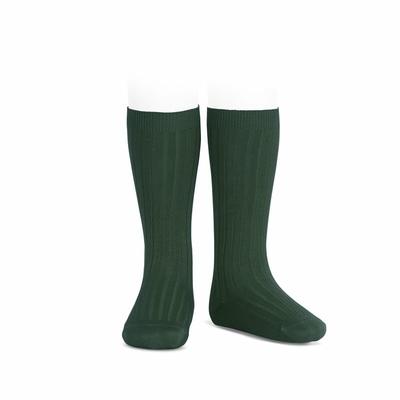 Chaussettes hautes maille côtelée coloris Vert Bouteille