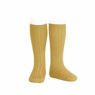 Chaussettes hautes maille côtelée coloris Curry