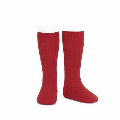 Chaussettes hautes maille côtelée coloris Rouge