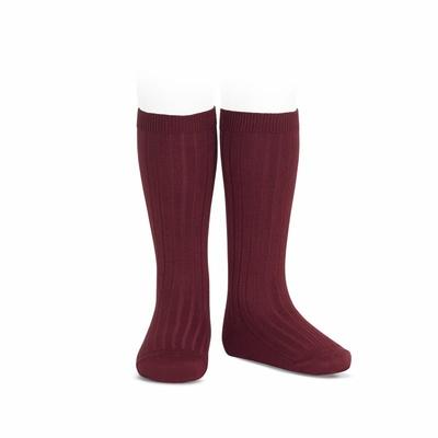 Chaussettes hautes maille côtelée coloris Bordeaux