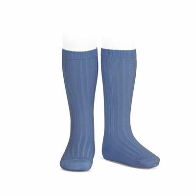 Chaussettes hautes maille côtelée coloris French Blue