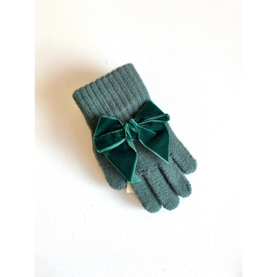 Gants avec noeud velours coloris Pin