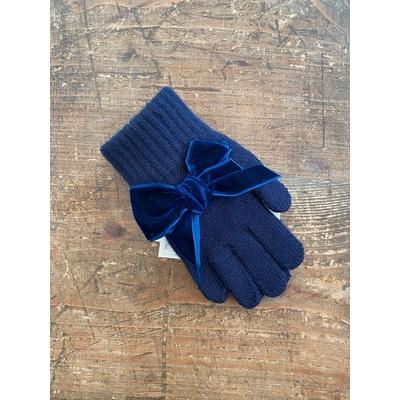 Gants avec noeud velours coloris Marine