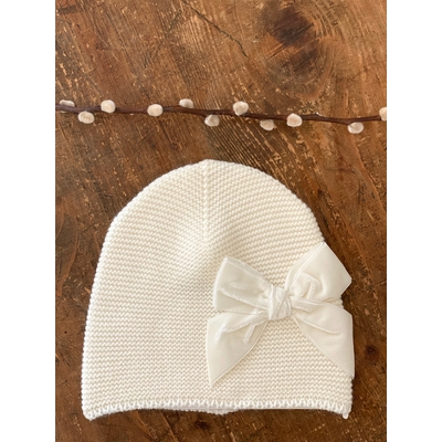 Bonnet enfant point mousse avec noeud velours coloris Beige
