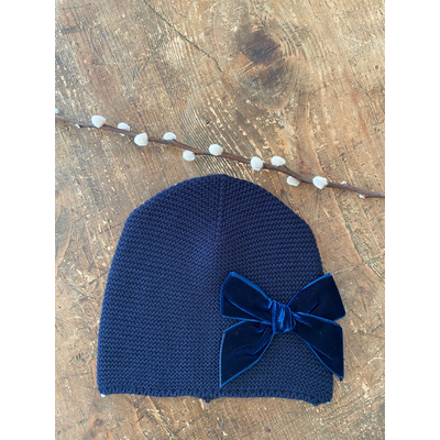 Bonnet enfant point mousse avec noeud velours coloris Marine