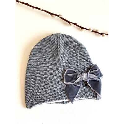 Bonnet enfant point mousse avec noeud velours coloris Gris clair