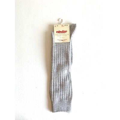 Chaussettes hautes CHAUDES maille côtelée coloris Aluminium