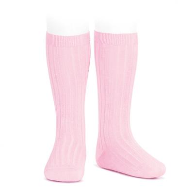 Chaussettes hautes maille côtelée coloris rose pâle