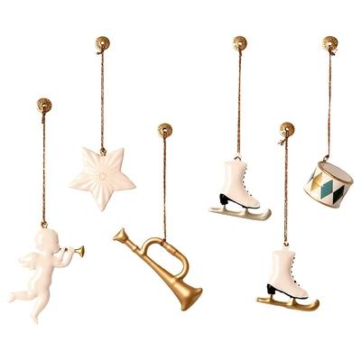 Boîte de 6 décorations de Noël en métal / blanc et or