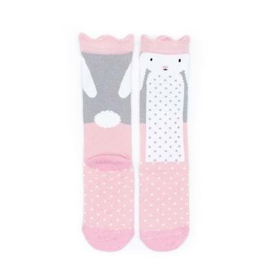 Chaussettes hautes Lapin rose pâle et gris
