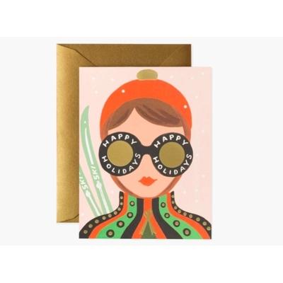 Carte double Ski Girl avec enveloppe
