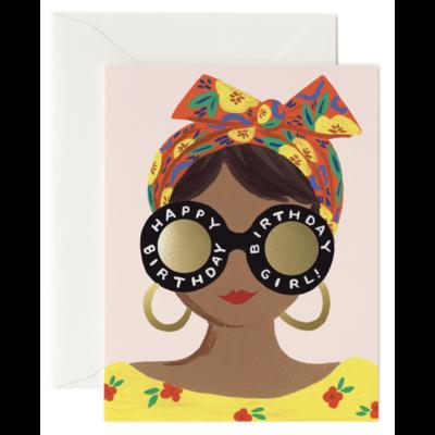 Carte double Scarf Birthday Girl avec enveloppe