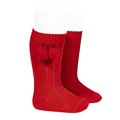 Chaussettes hautes maille côtelée à pompons coloris Rouge