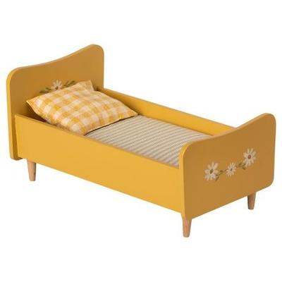 PRECOMMANDE (livraison fin juin 2021) : Lit en bois coloris jaune, format mini (lapins de taille 1 et 2)