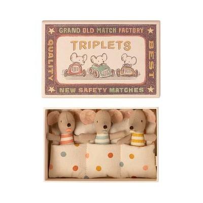 Triplés Souris Maileg : bébés souris dans leur boîte d'allumettes