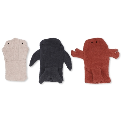 Lot de 3 gants de toilette