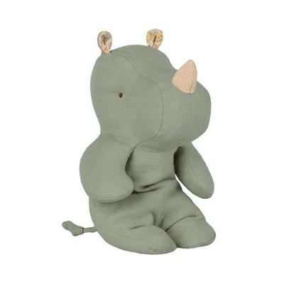 Doudou Maileg : Safari friends - Rhinocéros small coloris dusty green