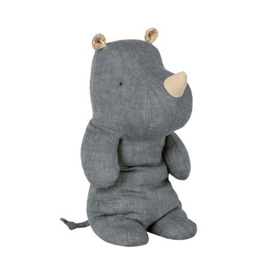 Doudou Maileg : Safari friends - Rhinocéros medium coloris denim