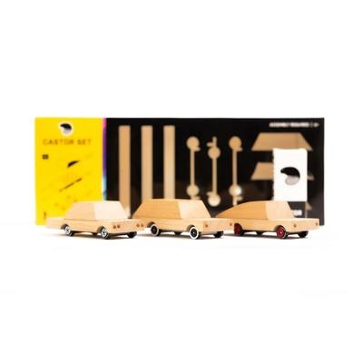 Castor Set : 3 voitures en kit en bois brut à assembler et décorer
