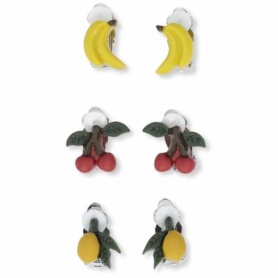"""Lot de 3 paires de boucles d'oreilles à clip thème """"fruits"""""""