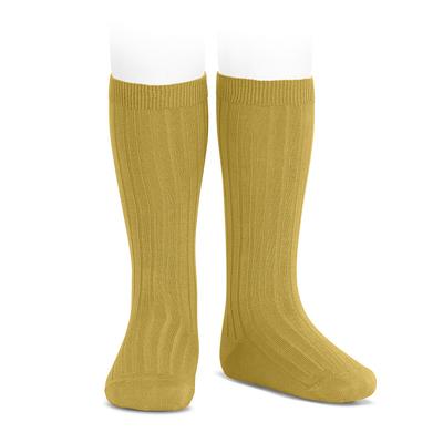 Chaussettes hautes maille côtelée coloris moutarde
