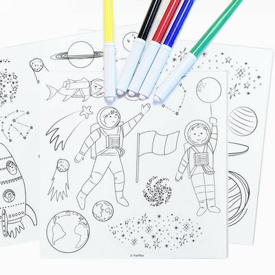 Jeu de magnets à colorier - Dans l'espace - 6 feutres inclus