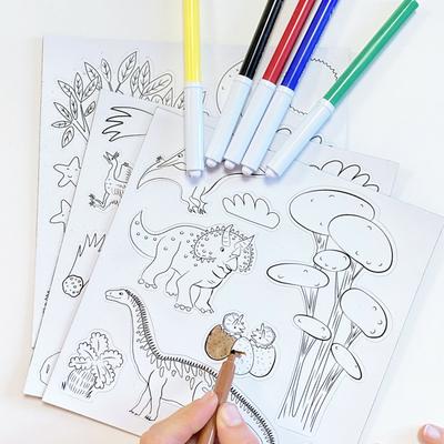 Jeu de magnets à colorier - Dinosaures - 6 feutres inclus