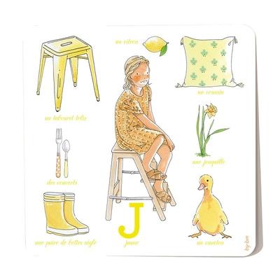 Carte postale Jaune 15 x 15 cm