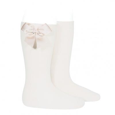 Chaussettes hautes en coton noeud côté coloris Crème
