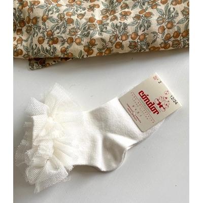 Chaussettes courtes avec tulle plissé coloris Crème
