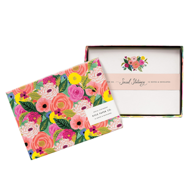 Set de 12 cartes et enveloppes - Juliet rose