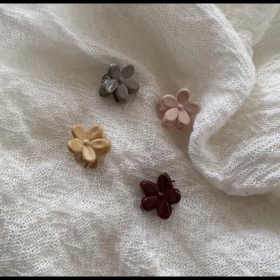 """Lot de 4 petites pinces à cheveux """"fleurs"""" coloris rose / moutarde"""