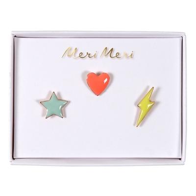 Assortiment de 3 pins coeur / étoile / éclair